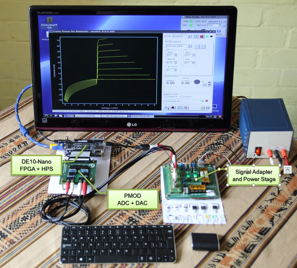 Innovatefpga Americas As033 Reconfigurable Virtual Build A Simple Transistor Curve Tracer Using An Arduino And Processing Now We Have Very Compact Setup Where Is Not Necessary Computer The De10 Nano Implement Instrument Core Gui Interface Instrumentation