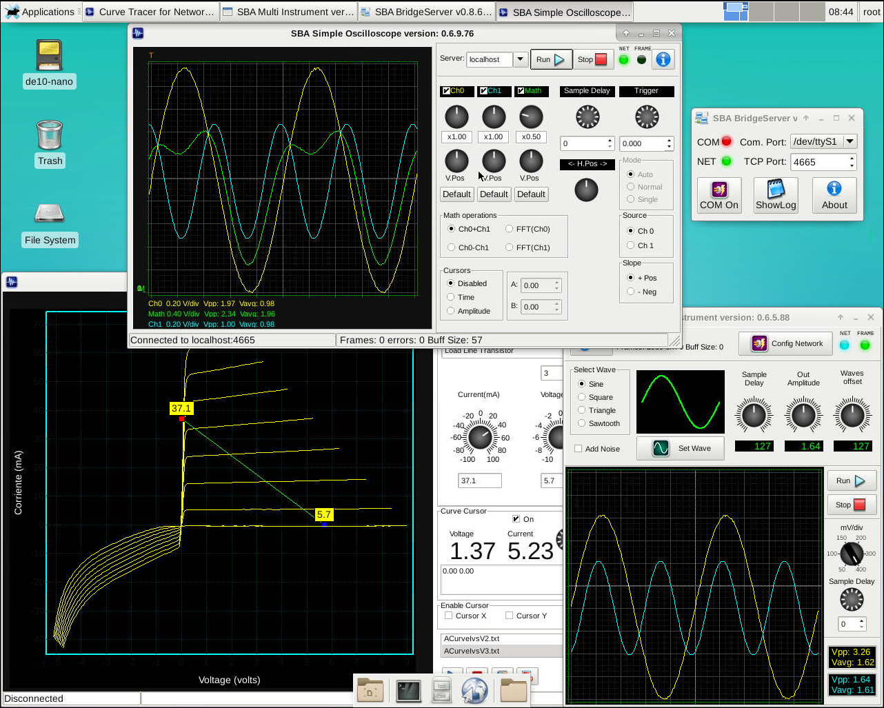 Innovatefpga Americas As033 Reconfigurable Virtual Build A Simple Transistor Curve Tracer Using An Arduino And Processing Fig 11 Instruments The Instrumentation Server Running In Angstrom Gnu Linux Of De10 Nano